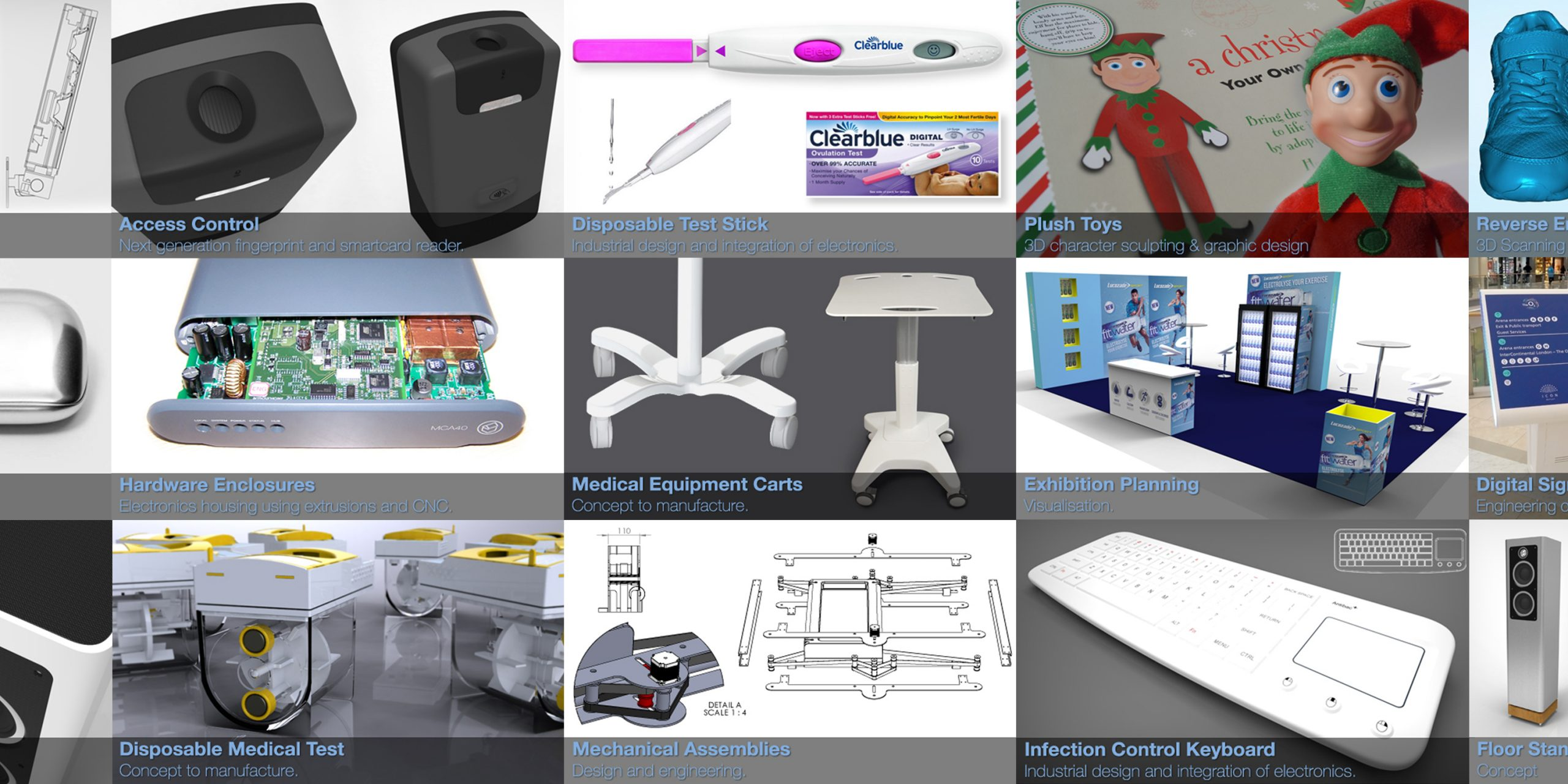Past design projects, injection moulding, 3D CAD,  Hardwear enclosures, mouldings, mechanism design